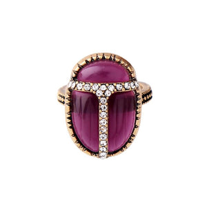 Purple Scarab Ring With Rhinestones ring Vinty Jewelry