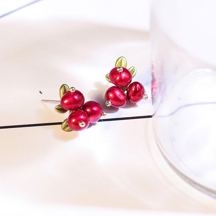 Red Winterberry Earrings earrings Vinty Jewelry