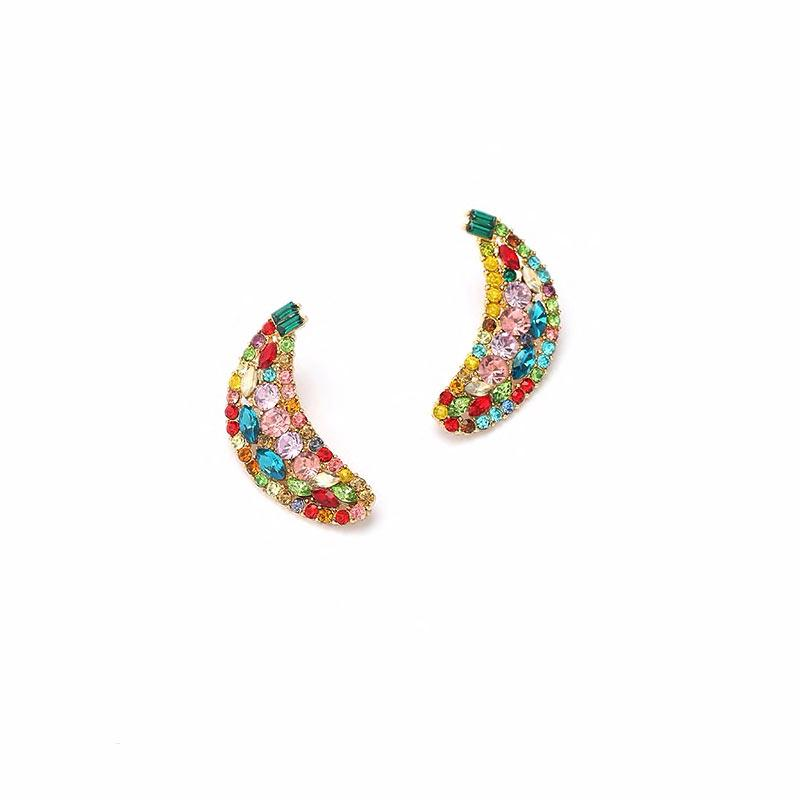 Rhinestone Banana Earrings earrings Vinty Jewelry Multicolor