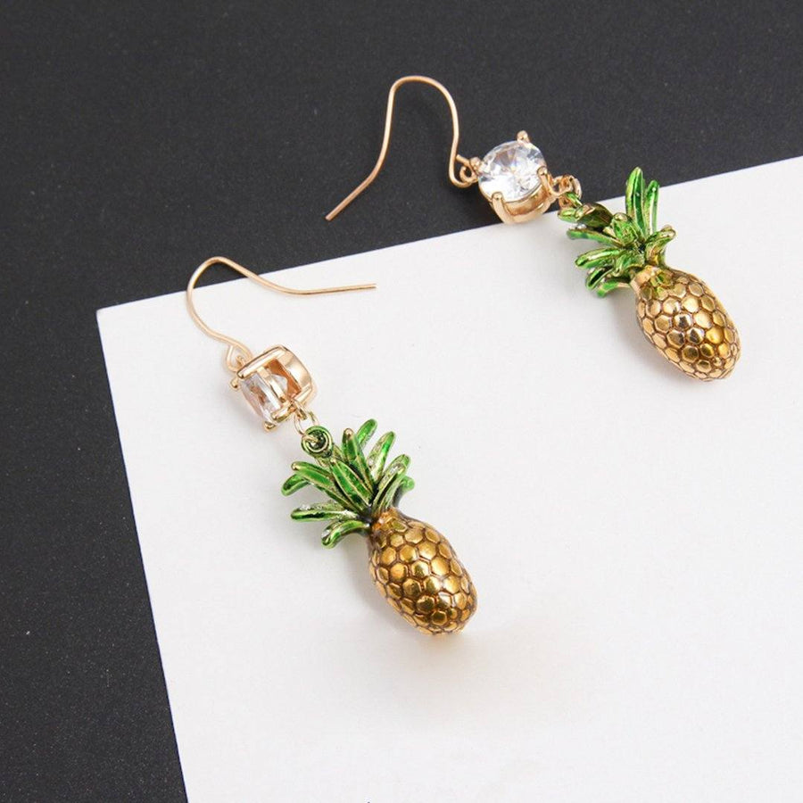Rhinestone Earrings With Dangling Pineapples earrings Vinty Jewelry