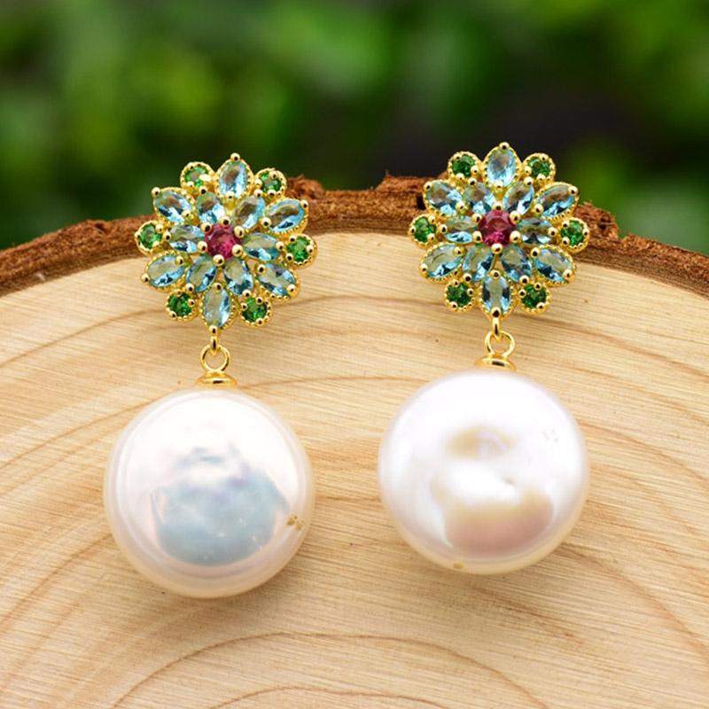 Rhinestone Flowers With Mother of Pearl Drop Earrings earrings Vinty Jewelry
