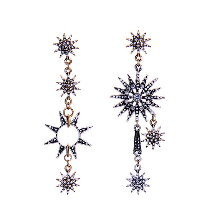 Rhinestone Stars Mismatched Dangle Earrings earrings Vinty Jewelry