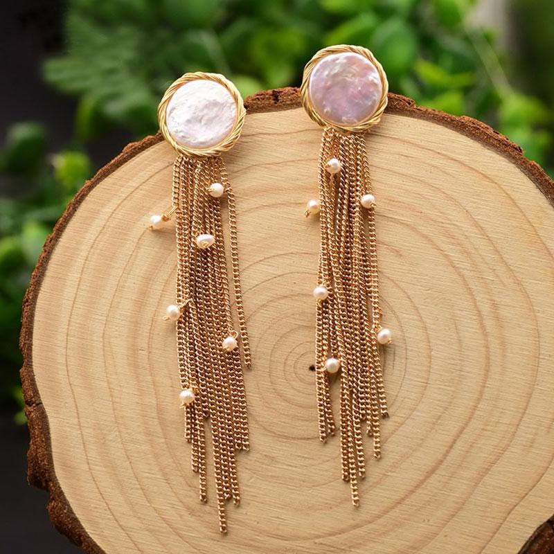 Round Pearl Earrings With Chain Tassels earrings Vinty Jewelry