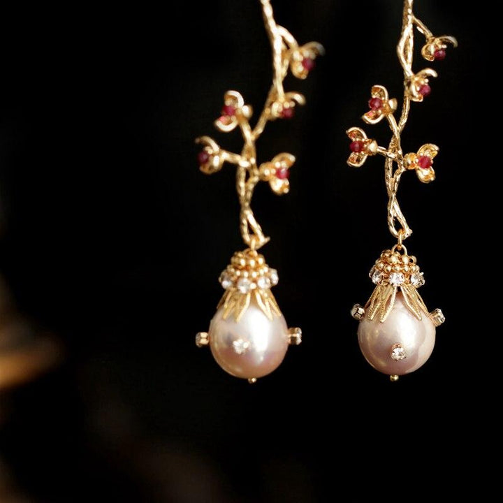 Sakura Embellished Pearl Earrings earrings Vinty Jewelry