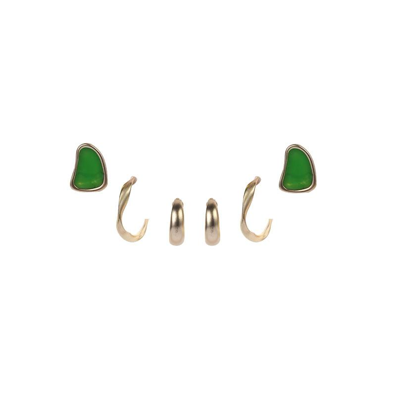 Set of 3 Pairs of Earrings earrings Vinty Jewelry Green