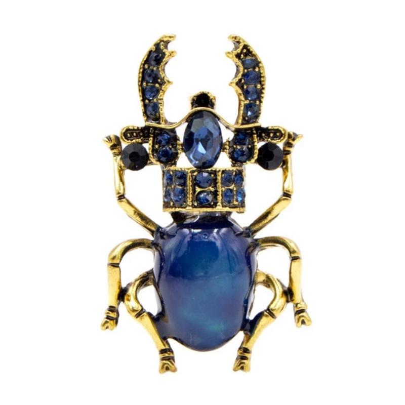 Shiny Rhinestone Stag Beetle Brooch BROOCH Vinty Jewelry blue