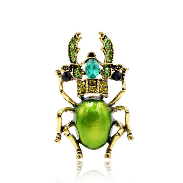 Shiny Rhinestone Stag Beetle Brooch BROOCH Vinty Jewelry green