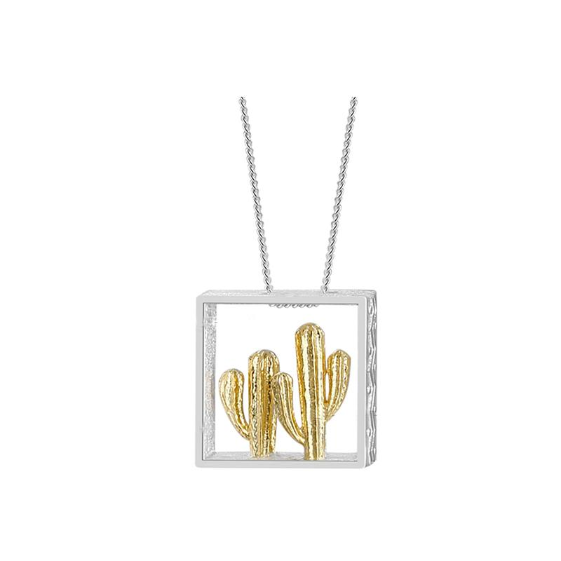 Silver Cactus Pendant necklace Vinty Jewelry