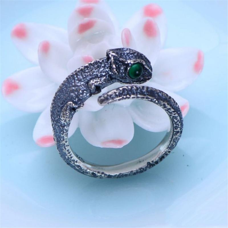 Silver Chameleon Ring ring Vinty Jewelry green