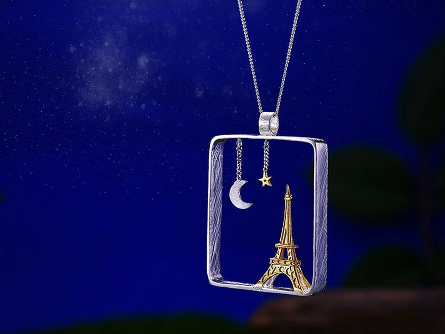 Silver Eiffel Tower at Starry Night Pendant necklace Vinty Jewelry