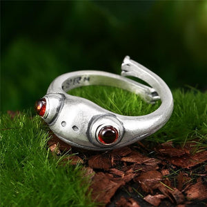 Silver Red Eyed Frog Ring ring Vinty Jewelry