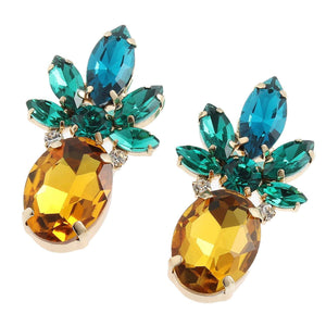 Sparkling Crystal Pineapple Earrings earrings Vinty Jewelry