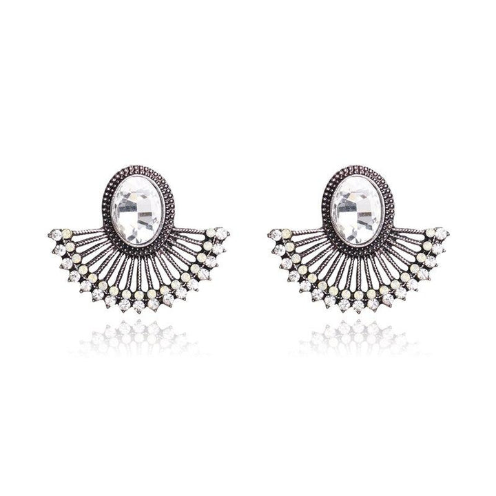 Sparkling Fan-Shaped Earrings earrings Vinty Jewelry Antique Silver Plated
