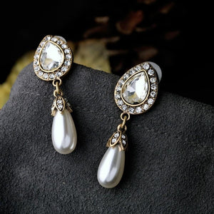 Sparkling Pearl Dangle Earrings earrings vintyjewelry