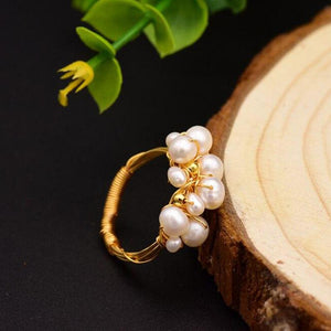 Stacked Freshwater Pearl Ring ring Vinty Jewelry