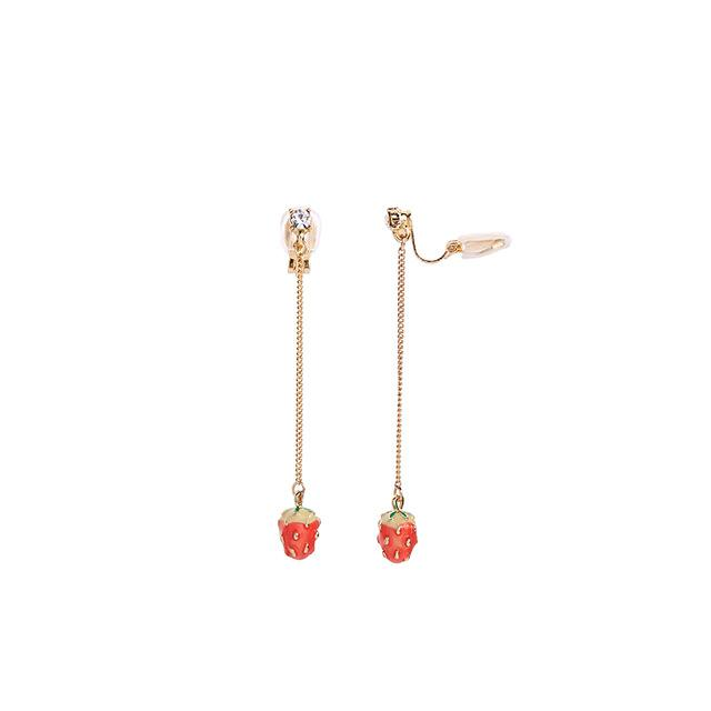 Strawberry Dangle Earrings earrings Vinty Jewelry clip on