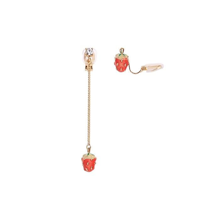 Strawberry Dangle Earrings earrings Vinty Jewelry mismatched clip on