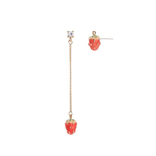 Strawberry Dangle Earrings earrings Vinty Jewelry mismatched stud