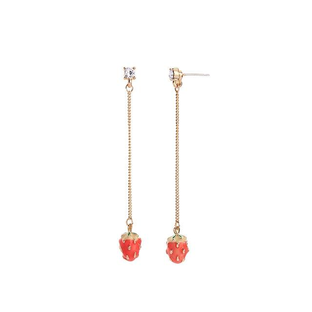 Strawberry Dangle Earrings earrings Vinty Jewelry stud