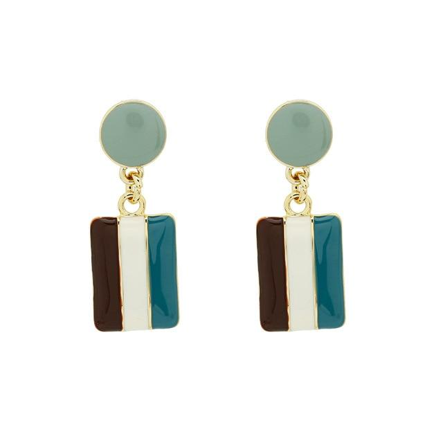 Striped Dangle Earrings earrings Vinty Jewelry aqua