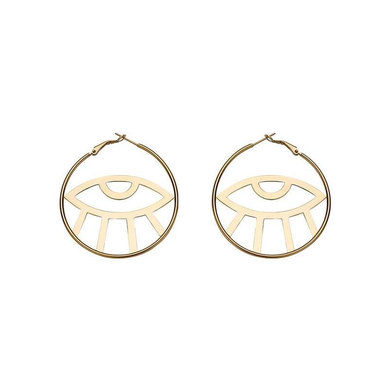 The Eye in the Hoop Earrings earrings Vinty Jewelry Gold