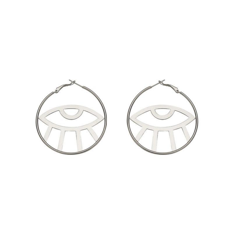 The Eye in the Hoop Earrings earrings Vinty Jewelry Silver