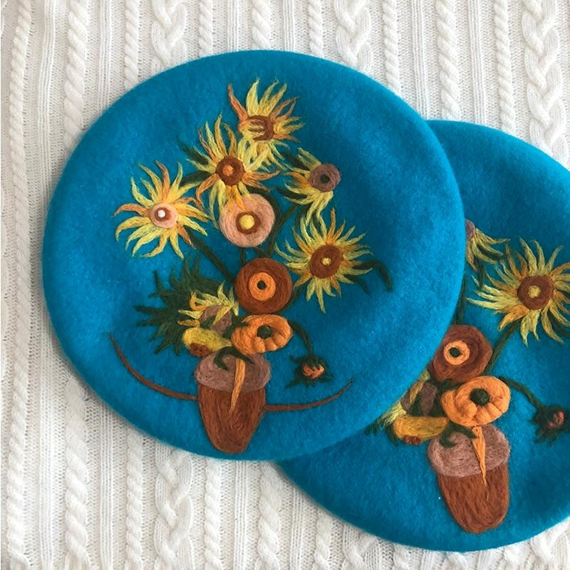 The Sunflowers Wool Beret hat Vinty Jewelry