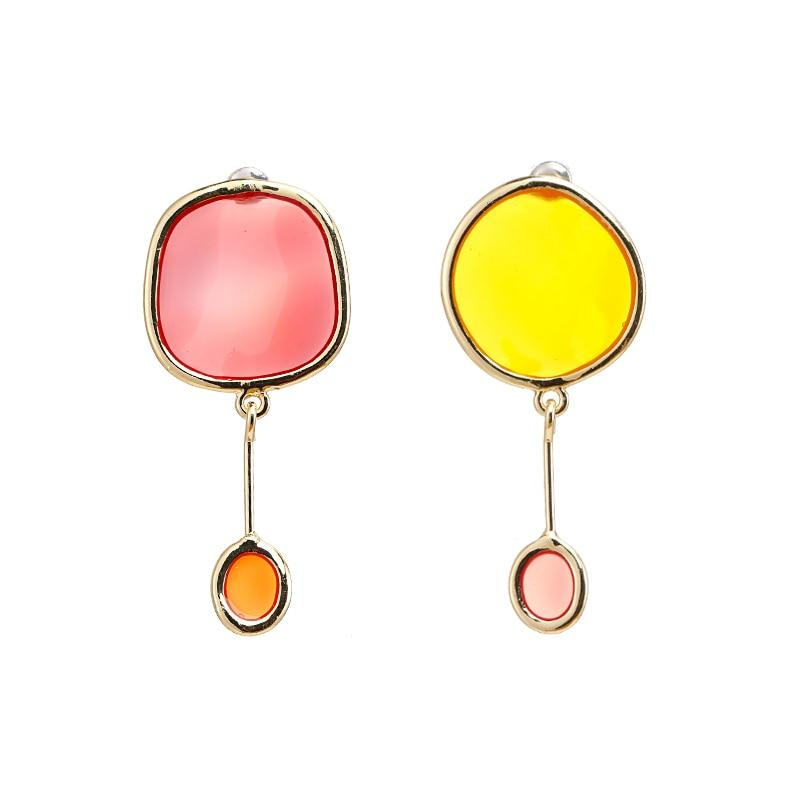 Transparent Round Dangle Earrings earrings Vinty Jewelry pink