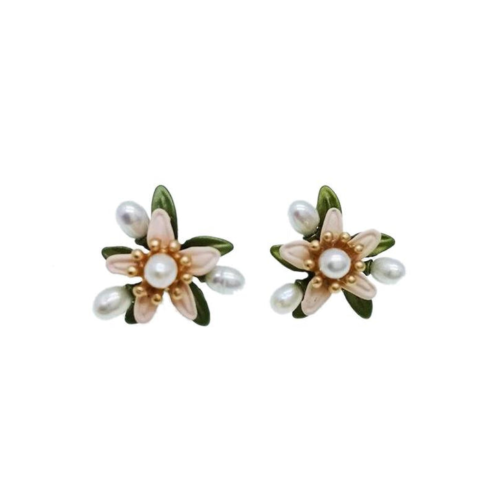 Vintage Flower Pearl Earrings earrings Vinty Jewelry