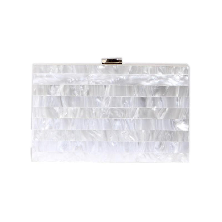 White Pearlescent Box Clutch bag Vinty Jewelry