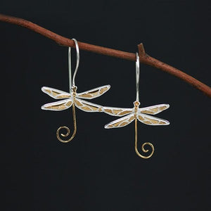 Wire Dragonfly Earrings earrings Vinty Jewelry gold