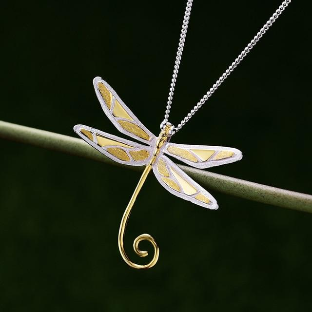 Wire Dragonfly Pendant necklace Vinty Jewelry gold
