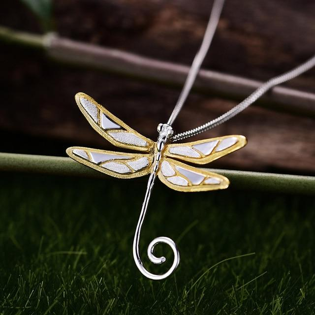 Wire Dragonfly Pendant necklace Vinty Jewelry silver