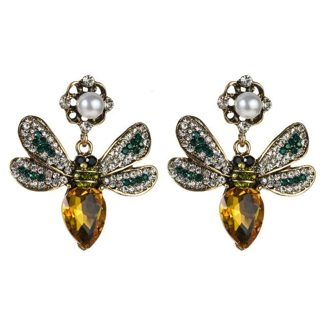 Yellow Crystal Wasp Earrings earrings Vinty Jewelry