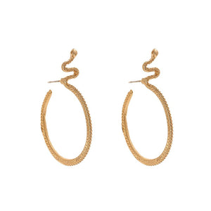 Yhpup Trendy Brand Snake Hoop Earrings Animal Gold Zinc Alloy Geometric Charm Earrings Minimalist Jewelry for Women Office New earrings Vinty Jewelry
