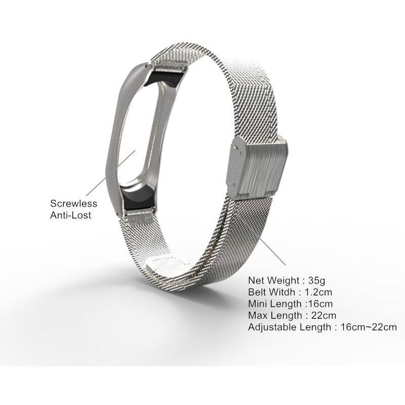Mi Band 2 Stainless Steel Screwless Wristband