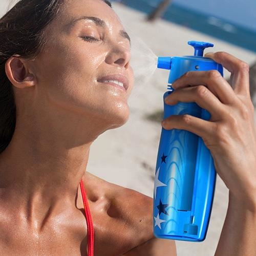 Still using an ordinary water bottle?  Upgrade to the Sport Water Bottle with Mist Sprayer - a pressurized mist sprayer, hydration and camp shower in one!