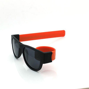 Polarized Slappable Bracelet Sunglasses are a revolutionary type of sunglasses with a unique design that's both innovative and fun. The secret is in the ground-breaking frames which feature a special hinged nose-bridge and silicone-coated sprung steel arms.