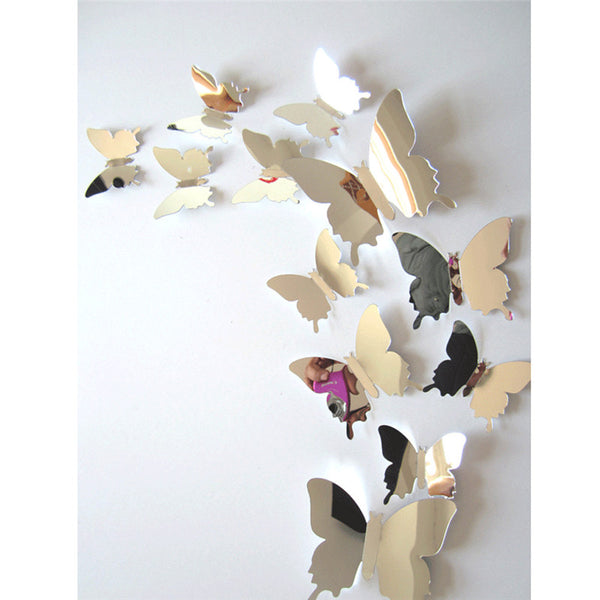 3D Butterfly Mirror Wall Stickers / Decals - 12pcs/set - Seek The Void