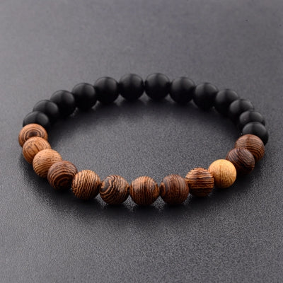 Natural Wood Beads Bracelet Black / White - 8mm - Seek The Void