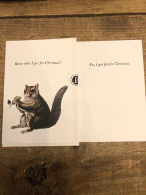 Squirrel got fat for Christmas Card