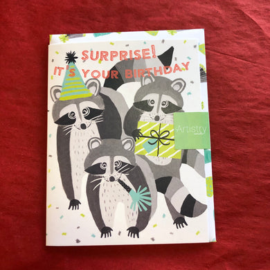 Raccoon Surprise Birthday Card