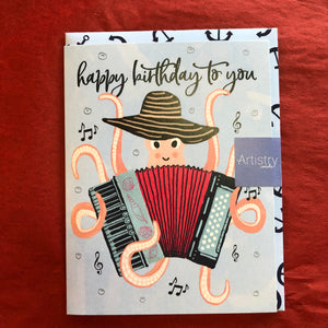 Octopus with accordion Birthday Card