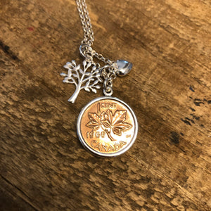 Canadian Penny and Tree Necklace