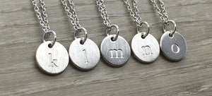 Silver letter medallion necklaces