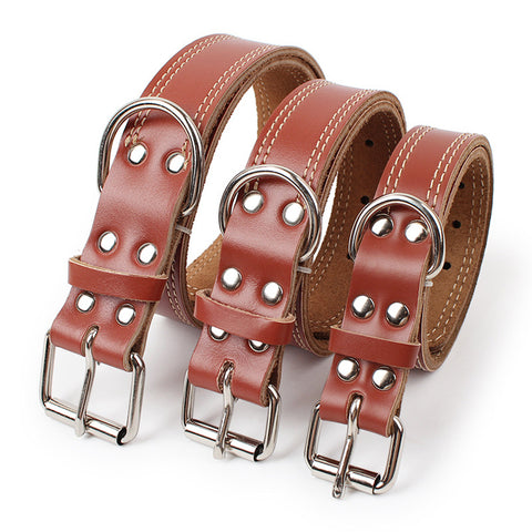 Strong Brown Genuine Leather Collar S/M/L, , DogGiftShop, DogGiftShop