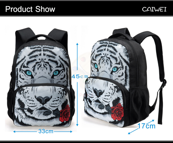 Cool 3D Animal Print Backpack For Teens And Children