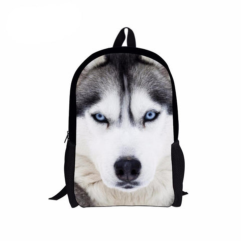 Pet Dog Husky Children Backpack 3D Animal Printing Travel Daypack for Teenagers Boys White Wolf Men School Shoulder Bag