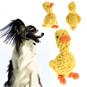 Pet Dog Cartoon Duck Play Toy Puppy Braided Rope Chew Knot Ball Clean Teeth Toys For Dog's Supplies