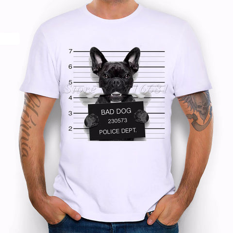 New 2017 Summer Fashion  French Bulldog Design T Shirt Men's High Quality  dog Tops Hipster Tees pa890